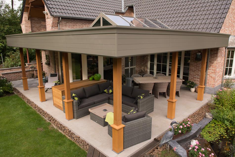 Pergola met platdak en lichtstraat tremelo sds veranda